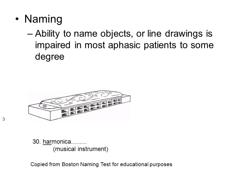 Naming –Ability to name objects, or line drawings is impaired in most aphasic patients to some degree 3 30. harmonica…….. (musical instrument) Copied