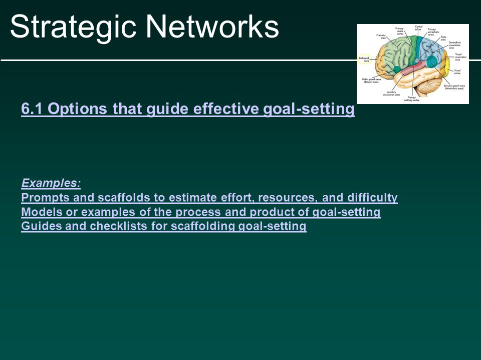 Strategic Networks 6.1 Options that guide effective goal-setting Examples: Prompts and scaffolds to estimate effort, resources, and difficulty Models or examples of the process and product of goal-setting Guides and checklists for scaffolding goal-setting