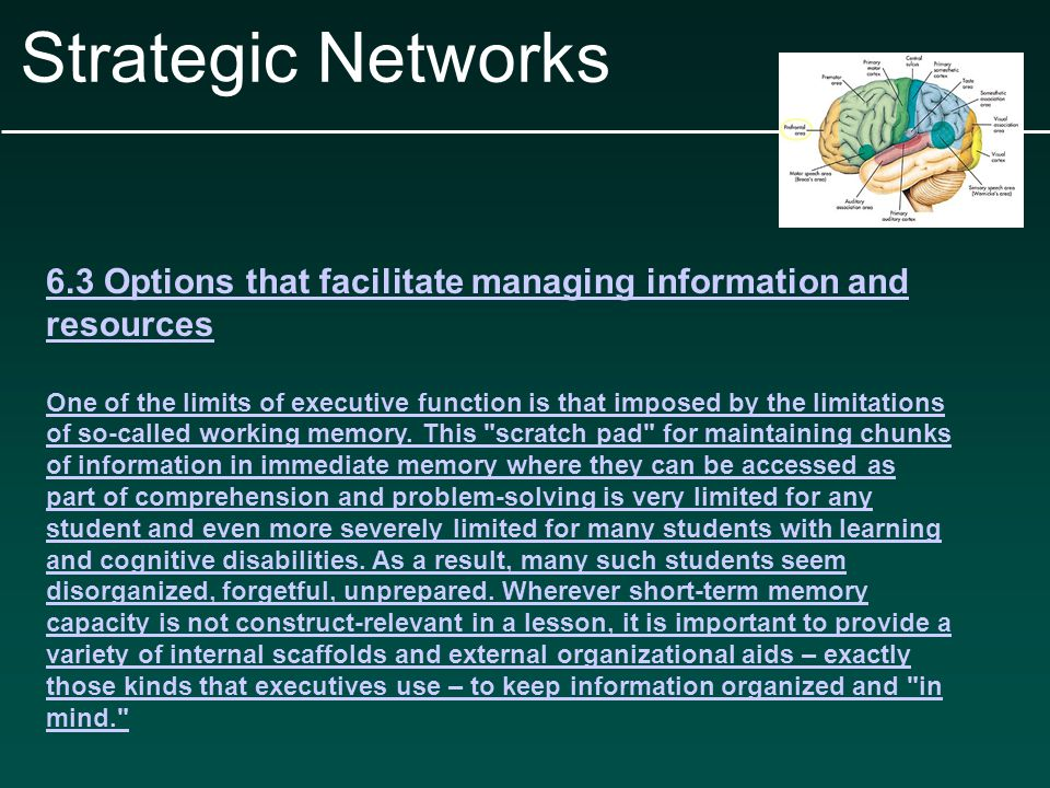 Strategic Networks 6.3 Options that facilitate managing information and resources One of the limits of executive function is that imposed by the limitations of so-called working memory.