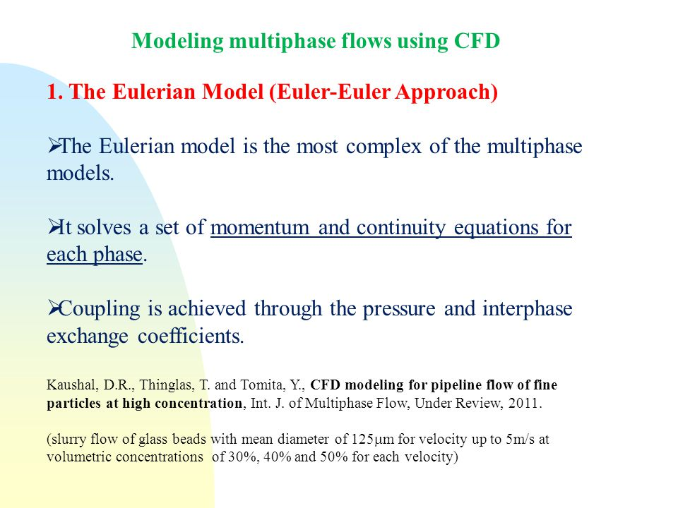 Modeling multiphase flows using CFD 1.