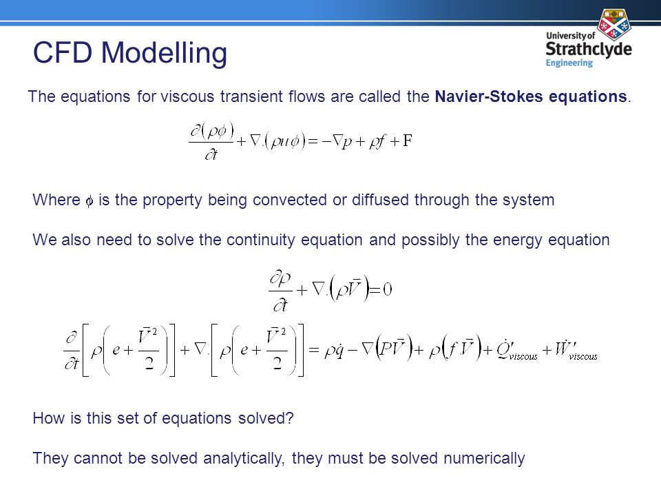 CFD Modelling The equations for viscous transient flows are called the Navier-Stokes equations.