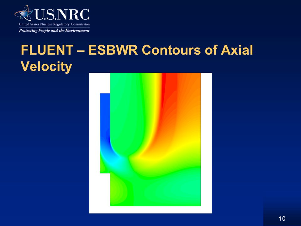 10 FLUENT – ESBWR Contours of Axial Velocity