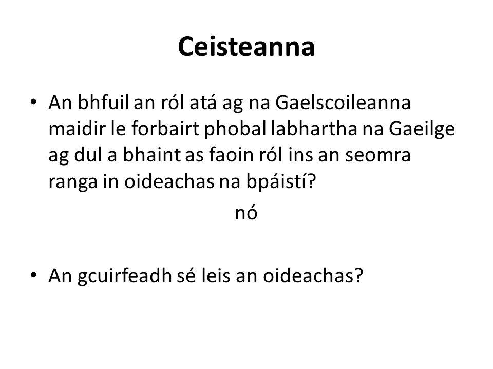 Ceisteanna An bhfuil an ról atá ag na Gaelscoileanna maidir le forbairt phobal labhartha na Gaeilge ag dul a bhaint as faoin ról ins an seomra ranga in oideachas na bpáistí.
