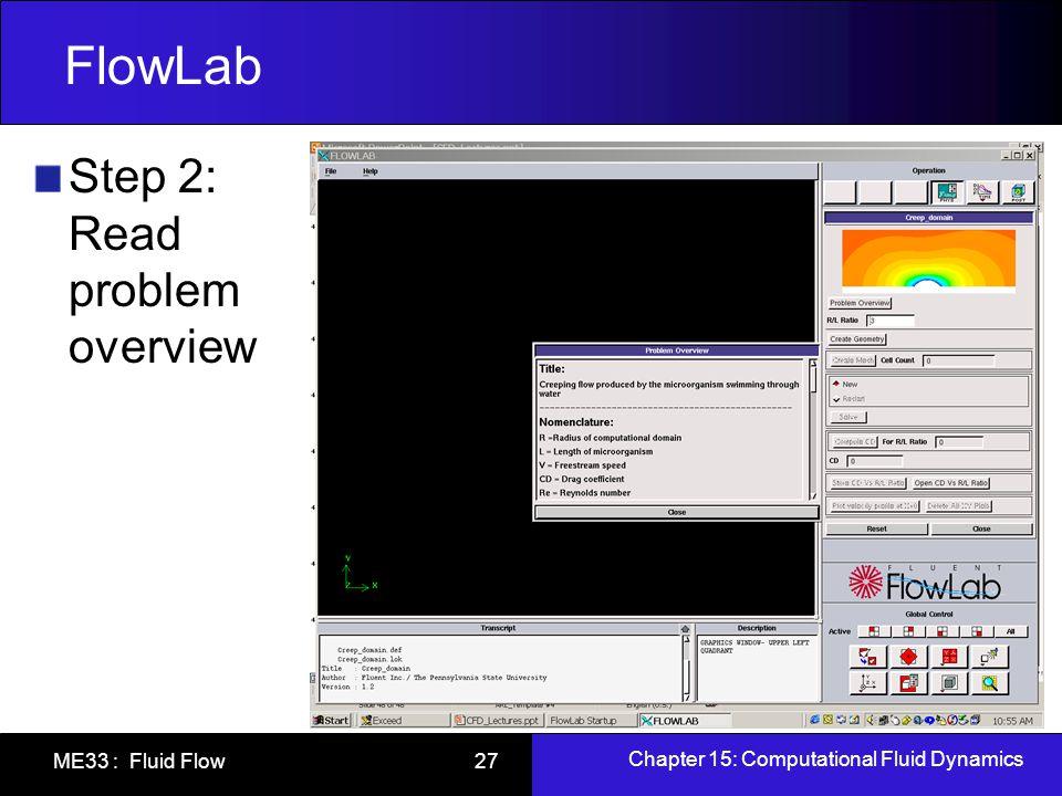 Chapter 15: Computational Fluid Dynamics ME33 : Fluid Flow 27 FlowLab Step 2: Read problem overview