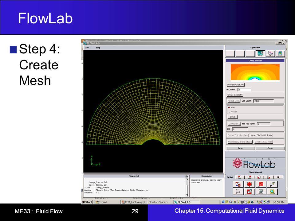 Chapter 15: Computational Fluid Dynamics ME33 : Fluid Flow 29 FlowLab Step 4: Create Mesh