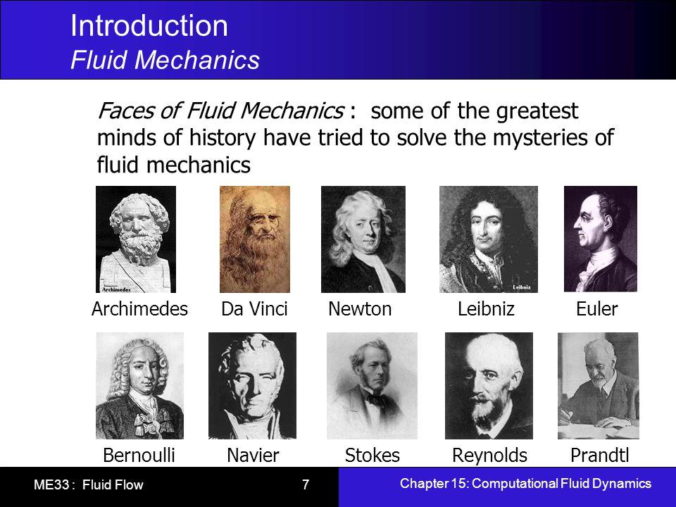 Chapter 15: Computational Fluid Dynamics ME33 : Fluid Flow 7 Introduction Fluid Mechanics Faces of Fluid Mechanics : some of the greatest minds of his