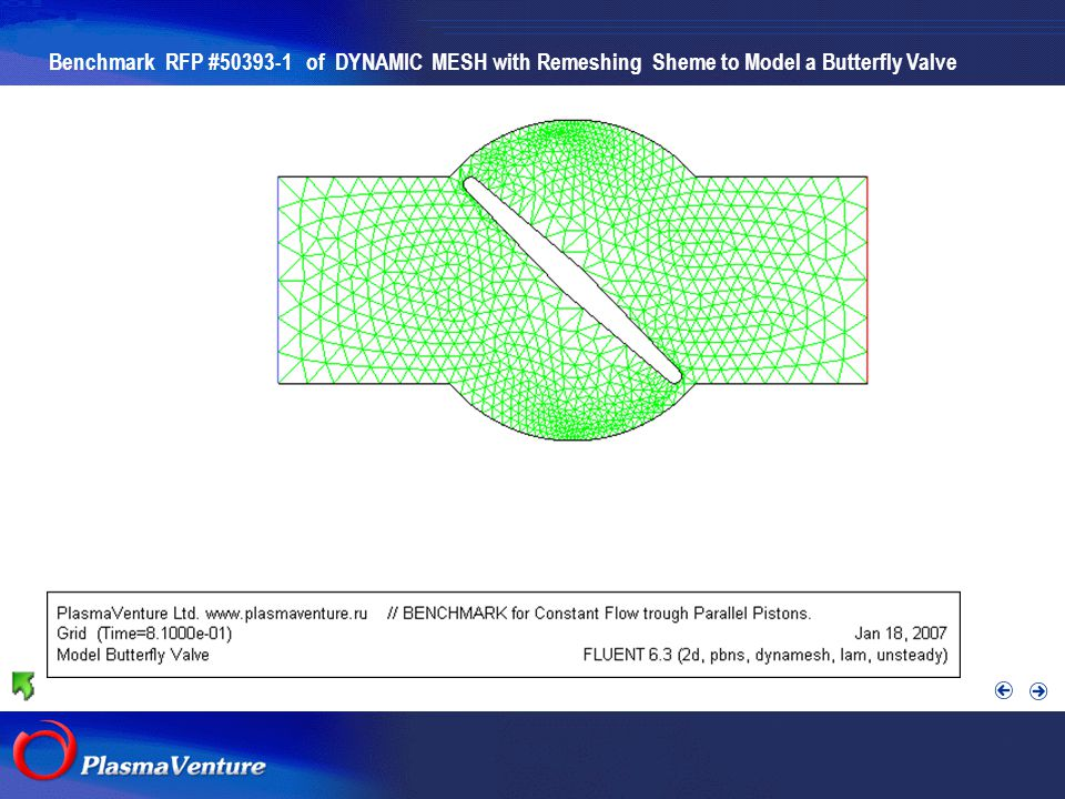 The purpose researches Benchmark RFP #50393-1 of DYNAMIC MESH with Remeshing Sheme to Model a Butterfly Valve