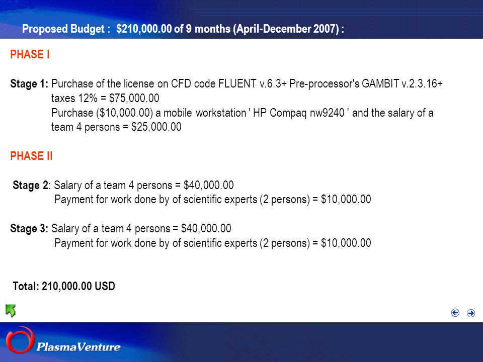 The purpose researches Proposed Budget : $210,000.00 of 9 months (April-December 2007) : PHASE I Stage 1: Purchase of the license on CFD code FLUENT v.6.3+ Pre-processor s GAMBIT v.2.3.16+ taxes 12% = $75,000.00 Purchase ($10,000.00) a mobile workstation HP Compaq nw9240 and the salary of a team 4 persons = $25,000.00 PHASE II Stage 2 : Salary of a team 4 persons = $40,000.00 Payment for work done by of scientific experts (2 persons) = $10,000.00 Stage 3: Salary of a team 4 persons = $40,000.00 Payment for work done by of scientific experts (2 persons) = $10,000.00 Total: 210,000.00 USD
