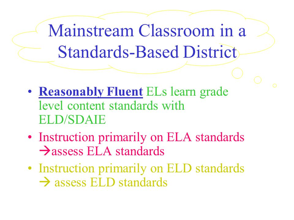 Mainstream Classroom in a Standards-Based District Reasonably Fluent ELs learn grade level content standards with ELD/SDAIE Instruction primarily on ELA standards  assess ELA standards Instruction primarily on ELD standards  assess ELD standards
