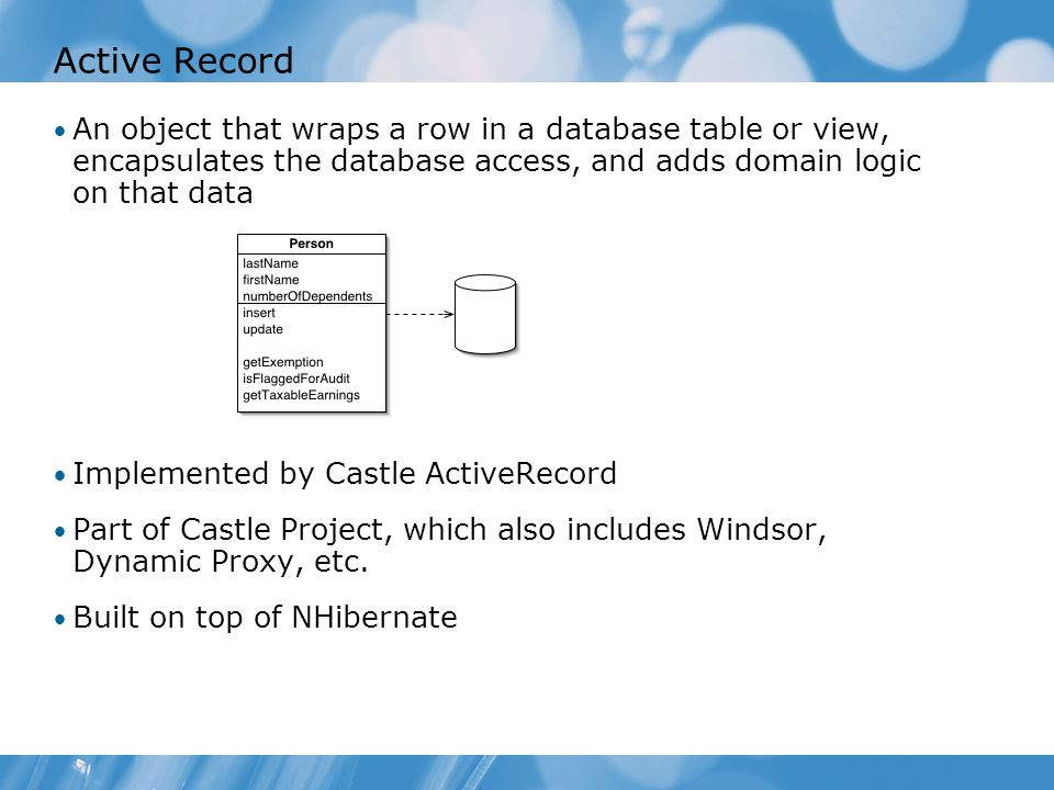 Active Record An object that wraps a row in a database table or view, encapsulates the database access, and adds domain logic on that data Implemented by Castle ActiveRecord Part of Castle Project, which also includes Windsor, Dynamic Proxy, etc.