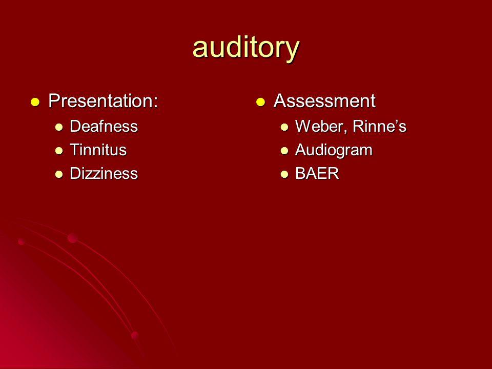 auditory Presentation: Presentation: Deafness Deafness Tinnitus Tinnitus Dizziness Dizziness Assessment Assessment Weber, Rinne's Audiogram BAER
