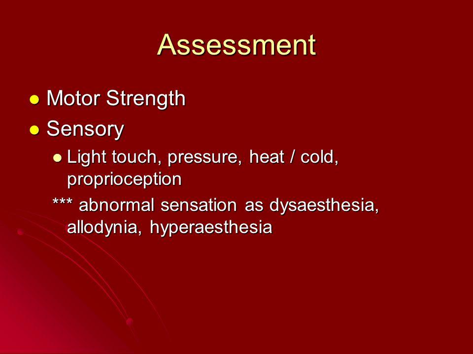 Assessment Motor Strength Motor Strength Sensory Sensory Light touch, pressure, heat / cold, proprioception Light touch, pressure, heat / cold, propri