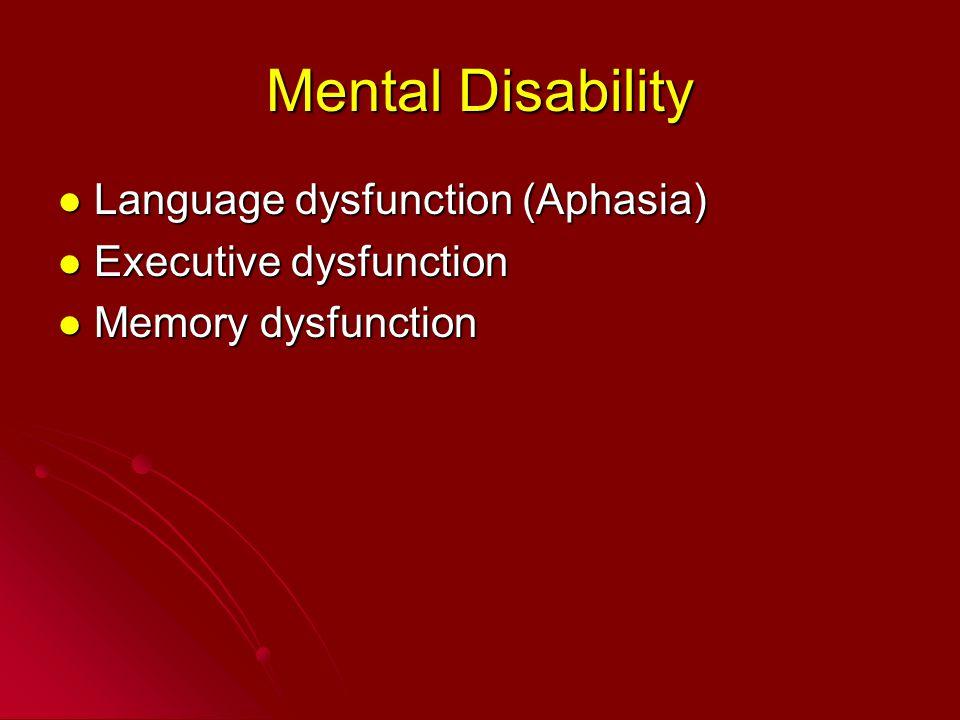 Mental Disability Language dysfunction (Aphasia) Language dysfunction (Aphasia) Executive dysfunction Executive dysfunction Memory dysfunction Memory