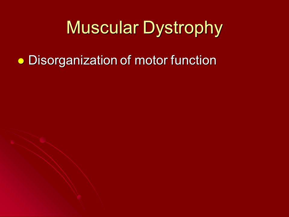 Muscular Dystrophy Disorganization of motor function Disorganization of motor function