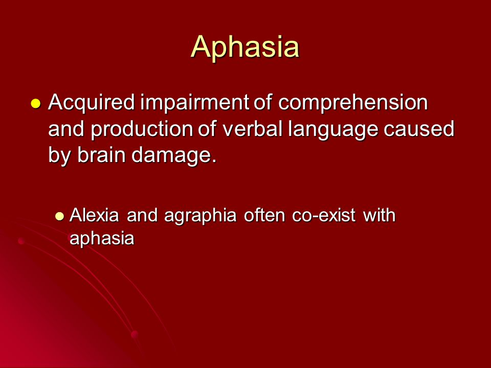 Aphasia Acquired impairment of comprehension and production of verbal language caused by brain damage. Acquired impairment of comprehension and produc