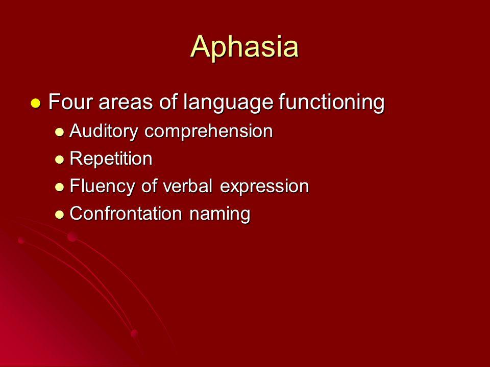 Aphasia Four areas of language functioning Four areas of language functioning Auditory comprehension Auditory comprehension Repetition Repetition Flue