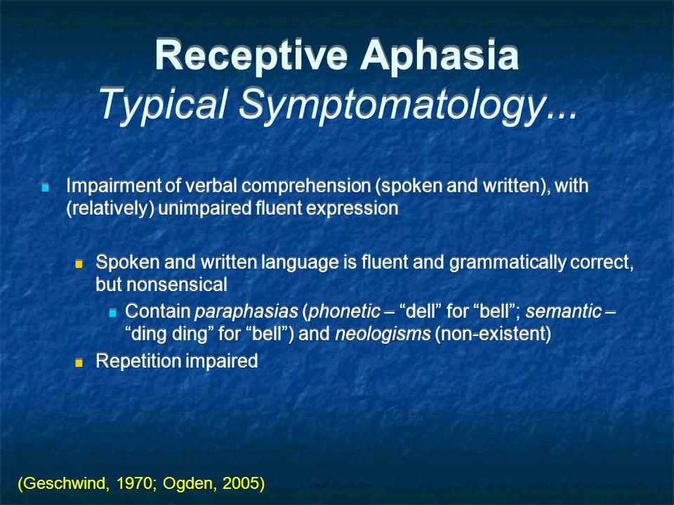 Receptive Aphasia Typical Symptomatology...
