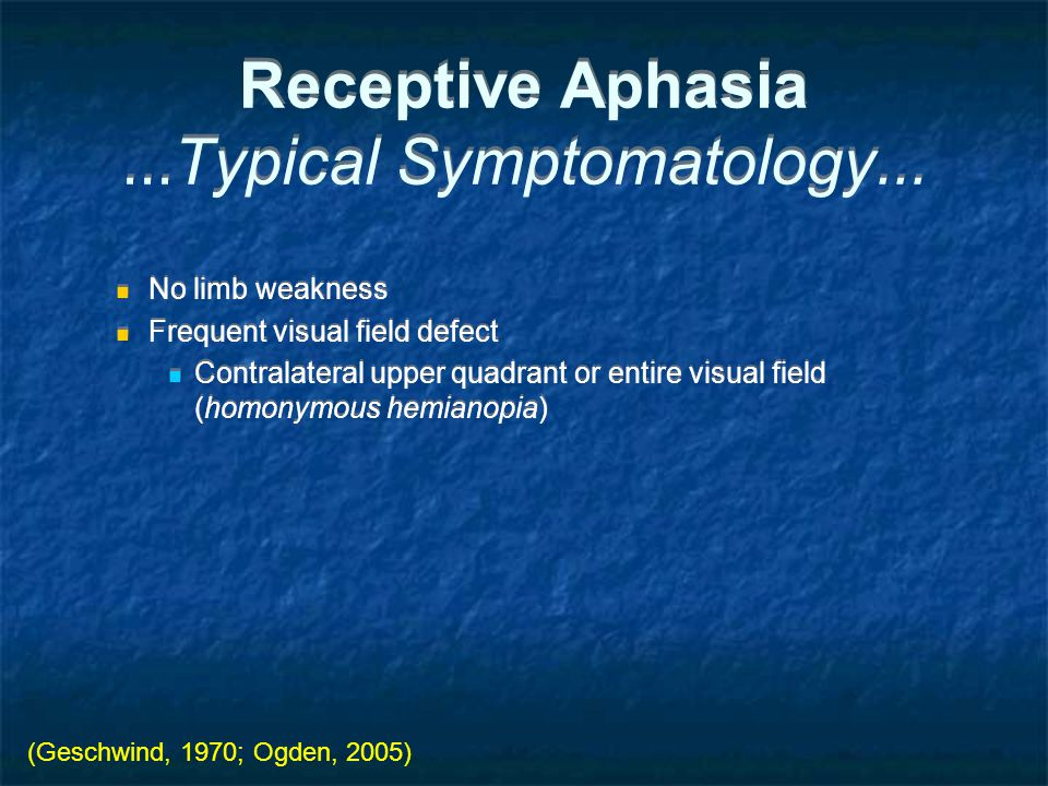 Receptive Aphasia...Typical Symptomatology...
