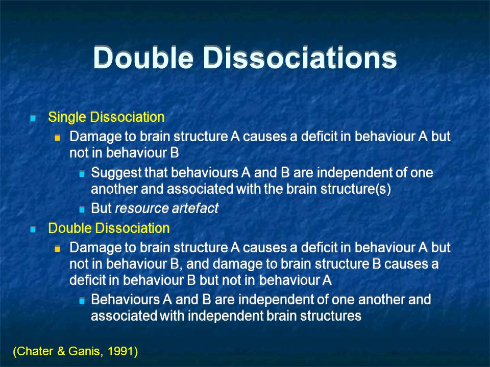 Double Dissociations Single Dissociation Damage to brain structure A causes a deficit in behaviour A but not in behaviour B Suggest that behaviours A and B are independent of one another and associated with the brain structure(s) But resource artefact Double Dissociation Damage to brain structure A causes a deficit in behaviour A but not in behaviour B, and damage to brain structure B causes a deficit in behaviour B but not in behaviour A Behaviours A and B are independent of one another and associated with independent brain structures Single Dissociation Damage to brain structure A causes a deficit in behaviour A but not in behaviour B Suggest that behaviours A and B are independent of one another and associated with the brain structure(s) But resource artefact Double Dissociation Damage to brain structure A causes a deficit in behaviour A but not in behaviour B, and damage to brain structure B causes a deficit in behaviour B but not in behaviour A Behaviours A and B are independent of one another and associated with independent brain structures (Chater & Ganis, 1991)