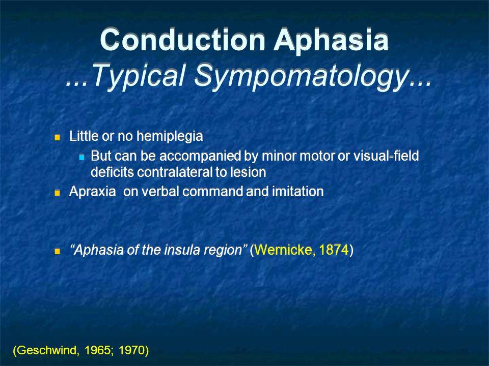 Conduction Aphasia...Typical Sympomatology...