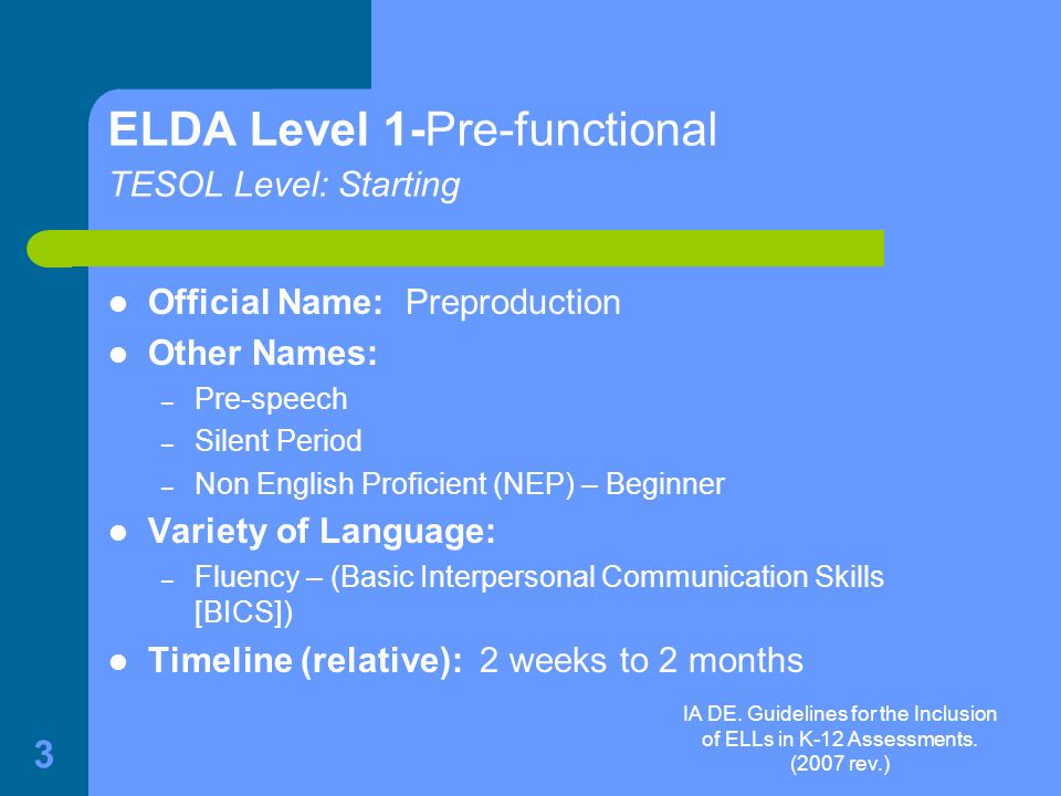IA DE.Guidelines for the Inclusion of ELLs in K-12 Assessments.