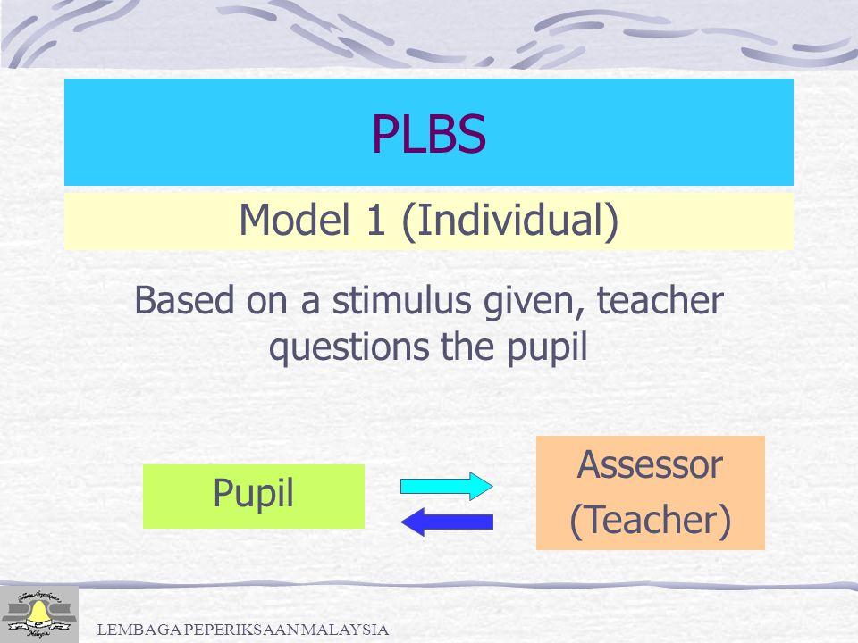 LEMBAGA PEPERIKSAAN MALAYSIA Module/Model PLBS 1.Individual 2.Individual - Listener 3.Individual - Peer 4.Pair Work 5.Group Work