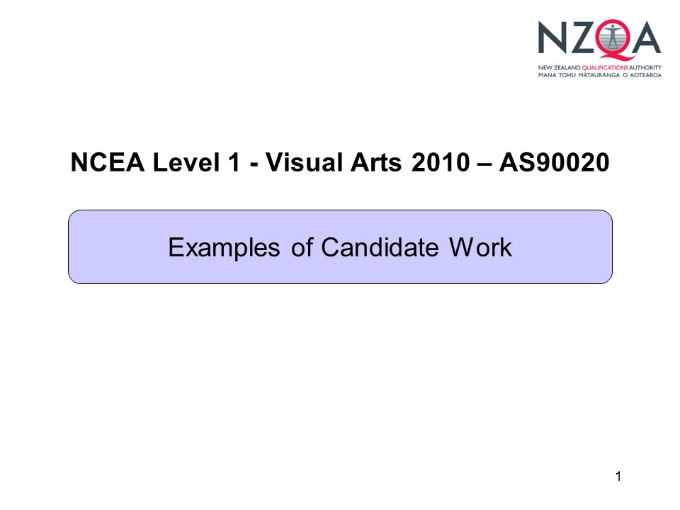 1 NCEA Level 1 - Visual Arts 2010 – AS90020 Examples of Candidate Work