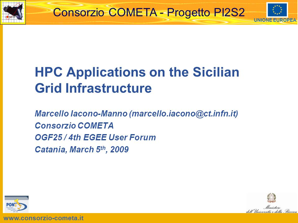 OGF25 / 4 th EGEE User Forum, Catania, 2009, March 5th 12 Execution The WMS Job wrapper copies all the files indicated in the InputSandbox on the master and ALL of the slave nodes host based ssh authentication MUST BE well configured between all the WNs If additional environment variables are needed ONLY on the master node, they can be set by the mpi.pre.sh –If required ON ALL THE NODES a static installation is the only method (middleware extension is under consideration) The WMS start the execution on the master