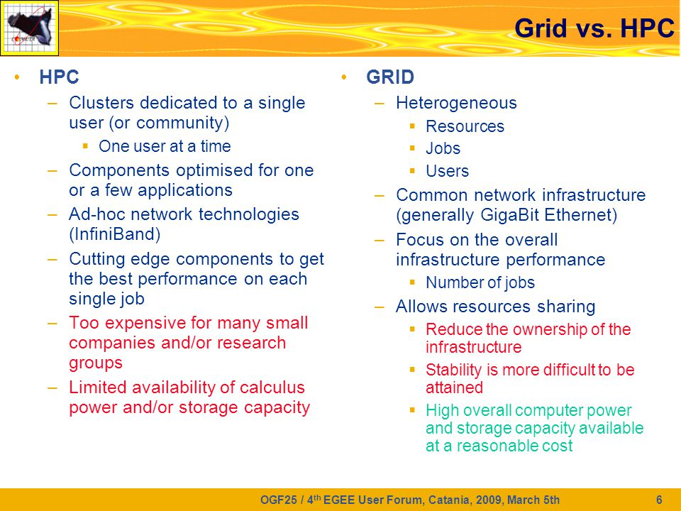 OGF25 / 4 th EGEE User Forum, Catania, 2009, March 5th 6 Grid vs.