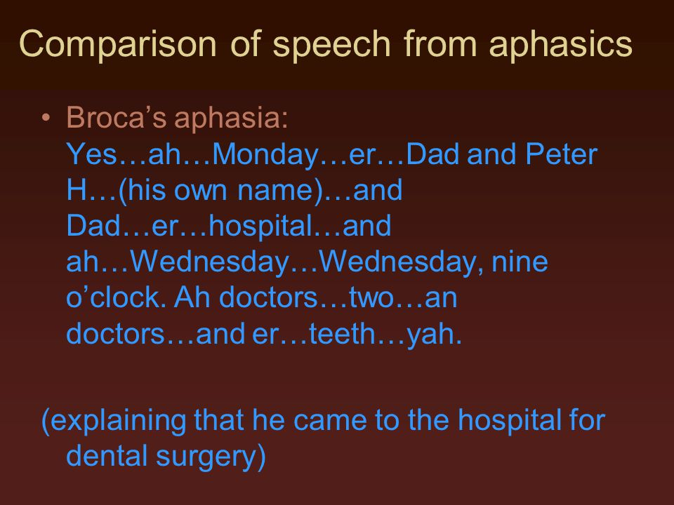 Comparison of speech from aphasics Broca's aphasia: Yes…ah…Monday…er…Dad and Peter H…(his own name)…and Dad…er…hospital…and ah…Wednesday…Wednesday, ni