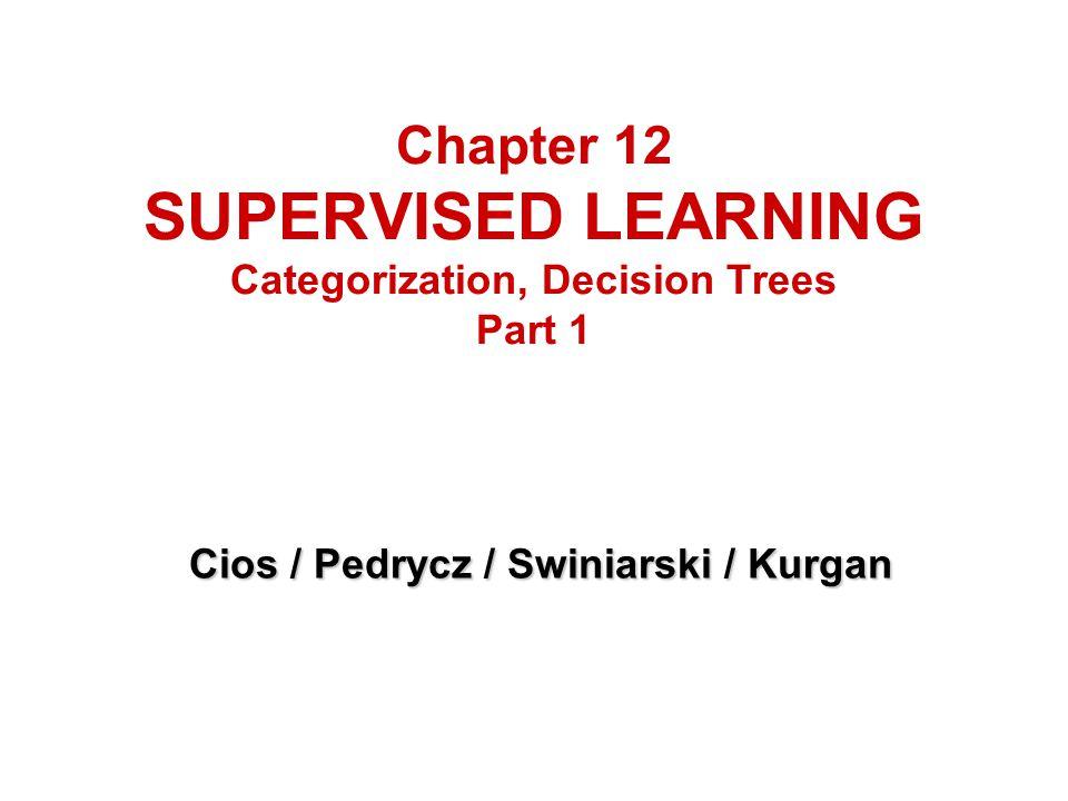 Chapter 12 SUPERVISED LEARNING Categorization, Decision Trees Part 1 Cios / Pedrycz / Swiniarski / Kurgan