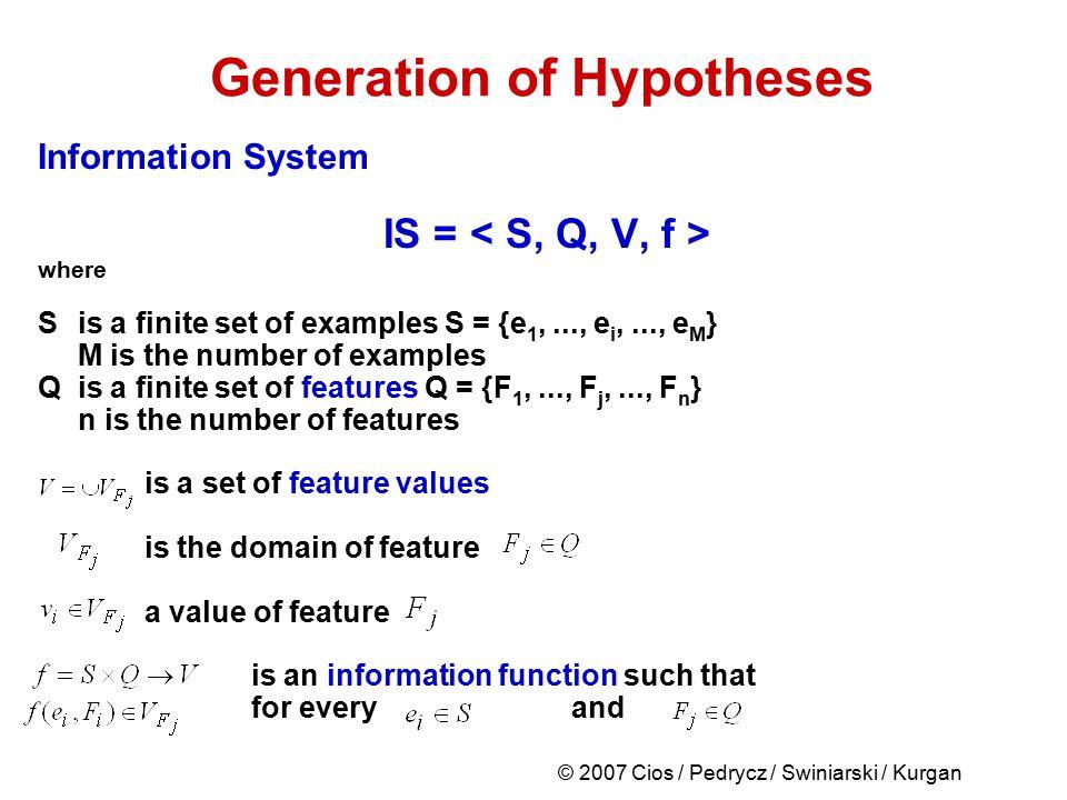 © 2007 Cios / Pedrycz / Swiniarski / Kurgan Generation of Hypotheses Information System IS = where Sis a finite set of examples S = {e 1,..., e i,...,