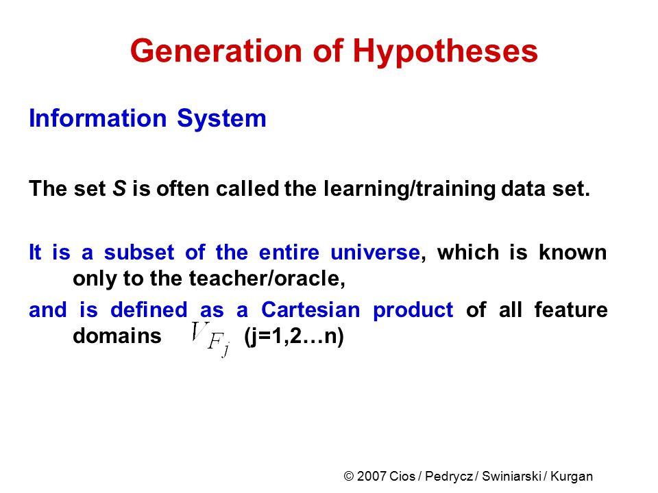 © 2007 Cios / Pedrycz / Swiniarski / Kurgan Generation of Hypotheses Information System The set S is often called the learning/training data set. It i