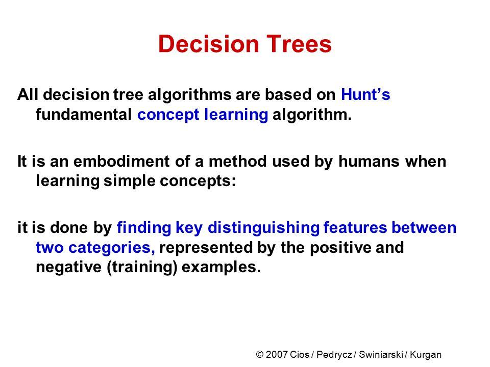 © 2007 Cios / Pedrycz / Swiniarski / Kurgan Decision Trees All decision tree algorithms are based on Hunt's fundamental concept learning algorithm. It