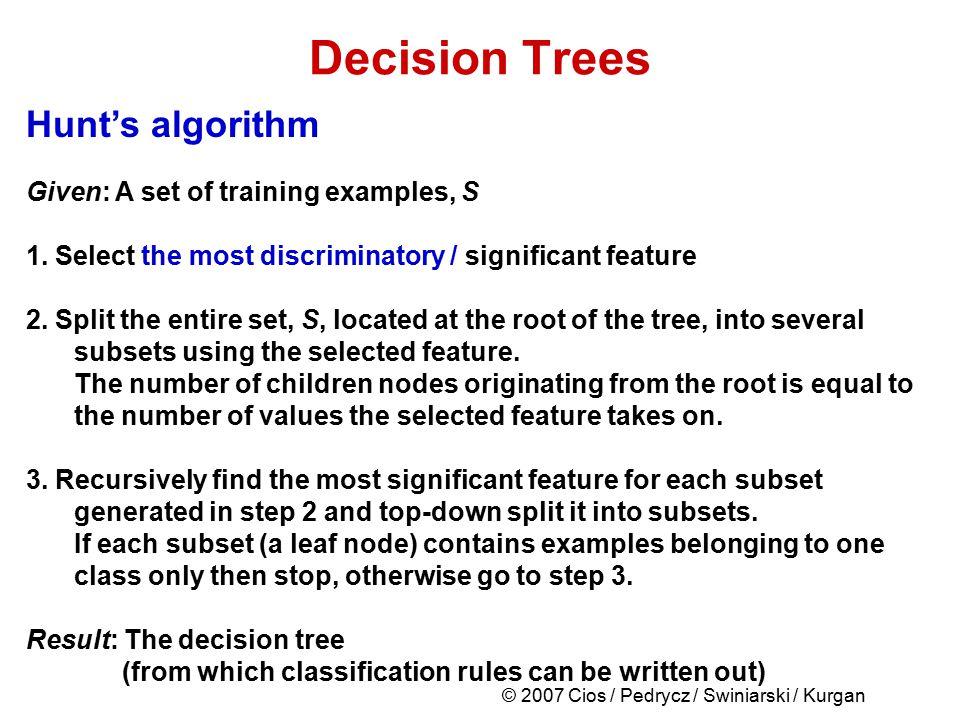 © 2007 Cios / Pedrycz / Swiniarski / Kurgan Decision Trees Hunt's algorithm Given: A set of training examples, S 1. Select the most discriminatory / s