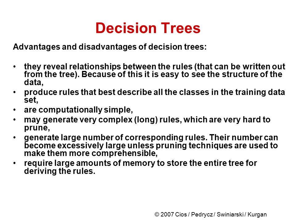 © 2007 Cios / Pedrycz / Swiniarski / Kurgan Decision Trees Advantages and disadvantages of decision trees: they reveal relationships between the rules