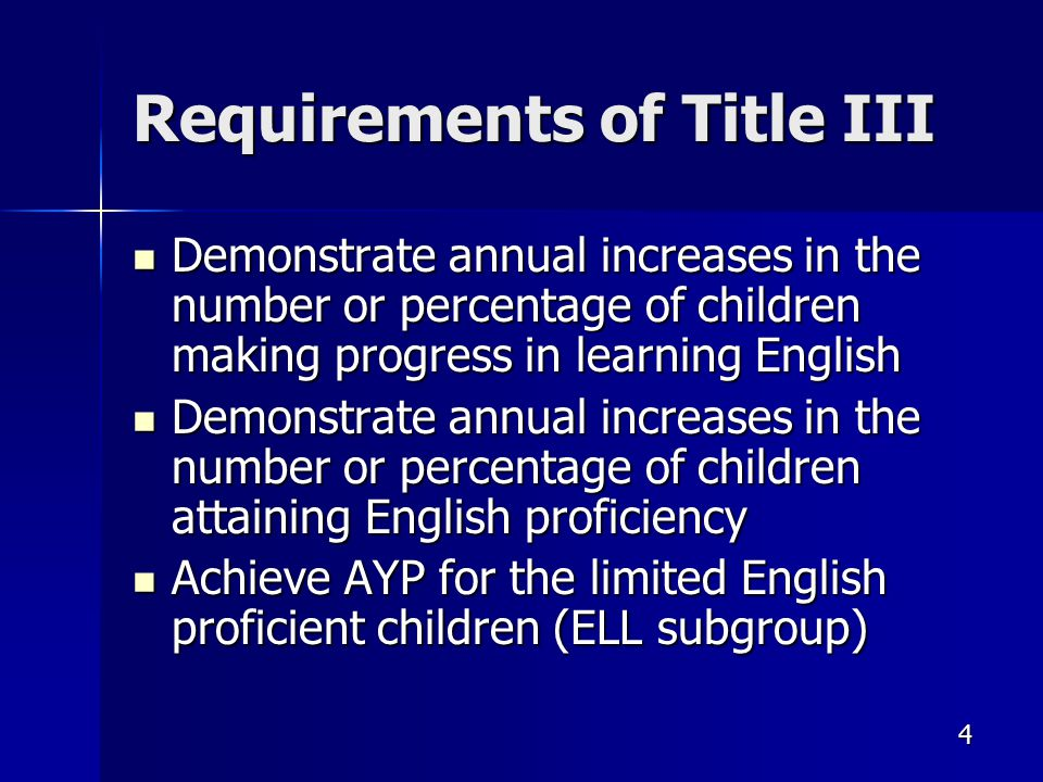 4 Requirements of Title III Demonstrate annual increases in the number or percentage of children making progress in learning English Demonstrate annual increases in the number or percentage of children making progress in learning English Demonstrate annual increases in the number or percentage of children attaining English proficiency Demonstrate annual increases in the number or percentage of children attaining English proficiency Achieve AYP for the limited English proficient children (ELL subgroup) Achieve AYP for the limited English proficient children (ELL subgroup)