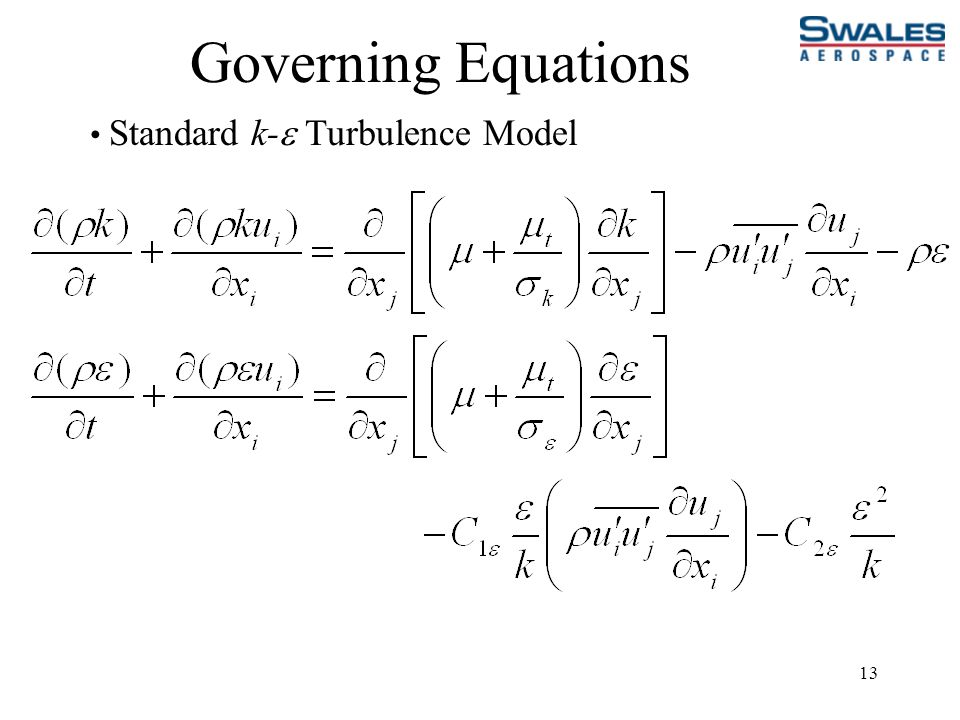 13 Governing Equations Standard k-  Turbulence Model