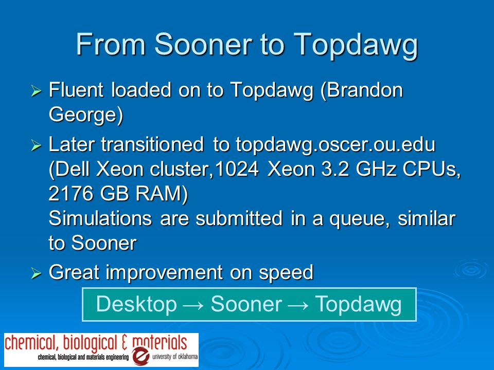 From Sooner to Topdawg  Fluent loaded on to Topdawg (Brandon George)  Later transitioned to topdawg.oscer.ou.edu (Dell Xeon cluster,1024 Xeon 3.2 GHz CPUs, 2176 GB RAM) Simulations are submitted in a queue, similar to Sooner  Great improvement on speed Desktop → Sooner → Topdawg
