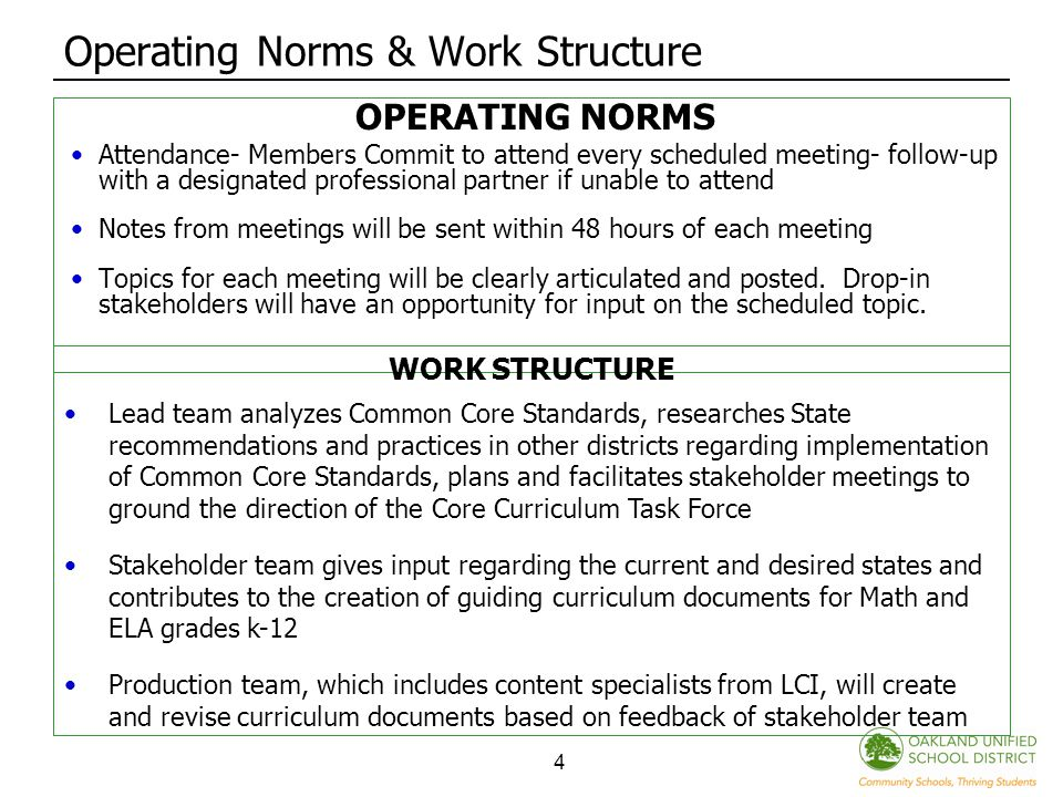 4 Operating Norms & Work Structure OPERATING NORMS Attendance- Members Commit to attend every scheduled meeting- follow-up with a designated professional partner if unable to attend Notes from meetings will be sent within 48 hours of each meeting Topics for each meeting will be clearly articulated and posted.