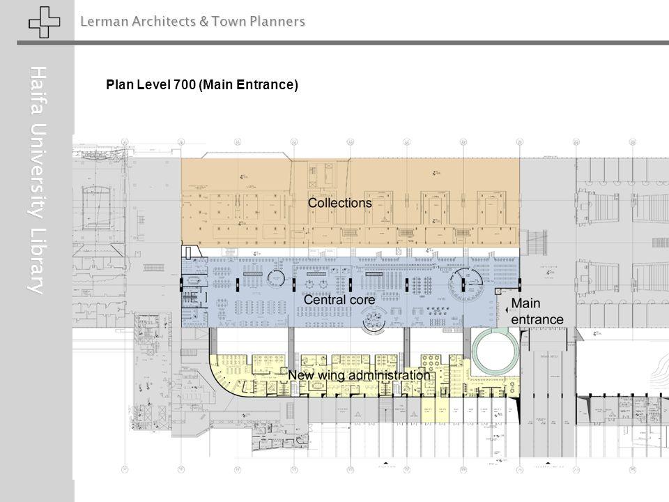 Lerman Architects & Town Planners Haifa University Library Plan Level 700 (Main Entrance)
