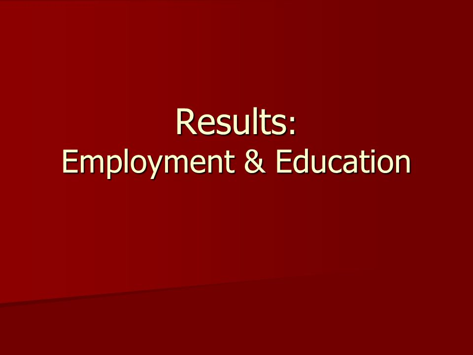 Results : Employment & Education