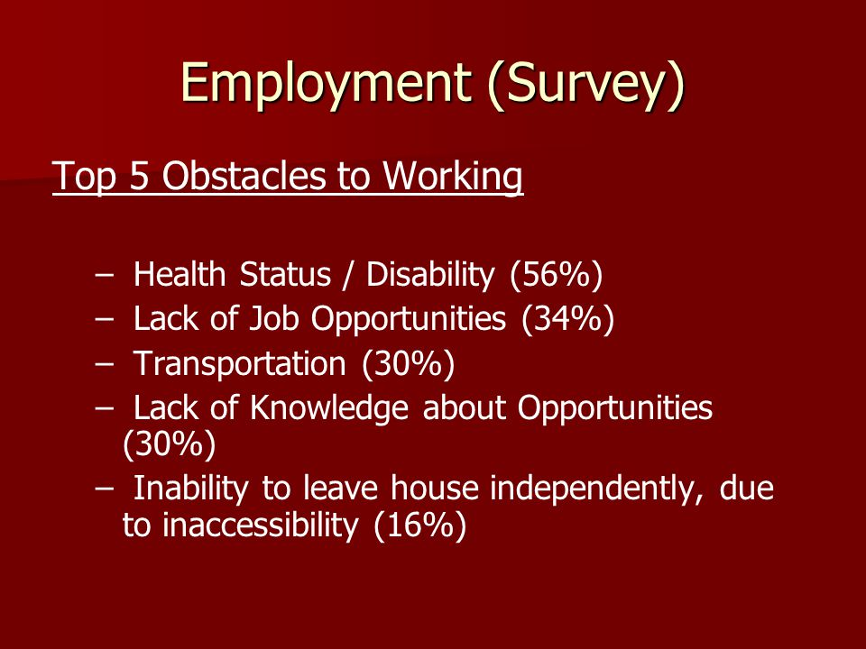 Employment (Survey) Top 5 Obstacles to Working – – Health Status / Disability (56%) – – Lack of Job Opportunities (34%) – – Transportation (30%) – – Lack of Knowledge about Opportunities (30%) – – Inability to leave house independently, due to inaccessibility (16%)