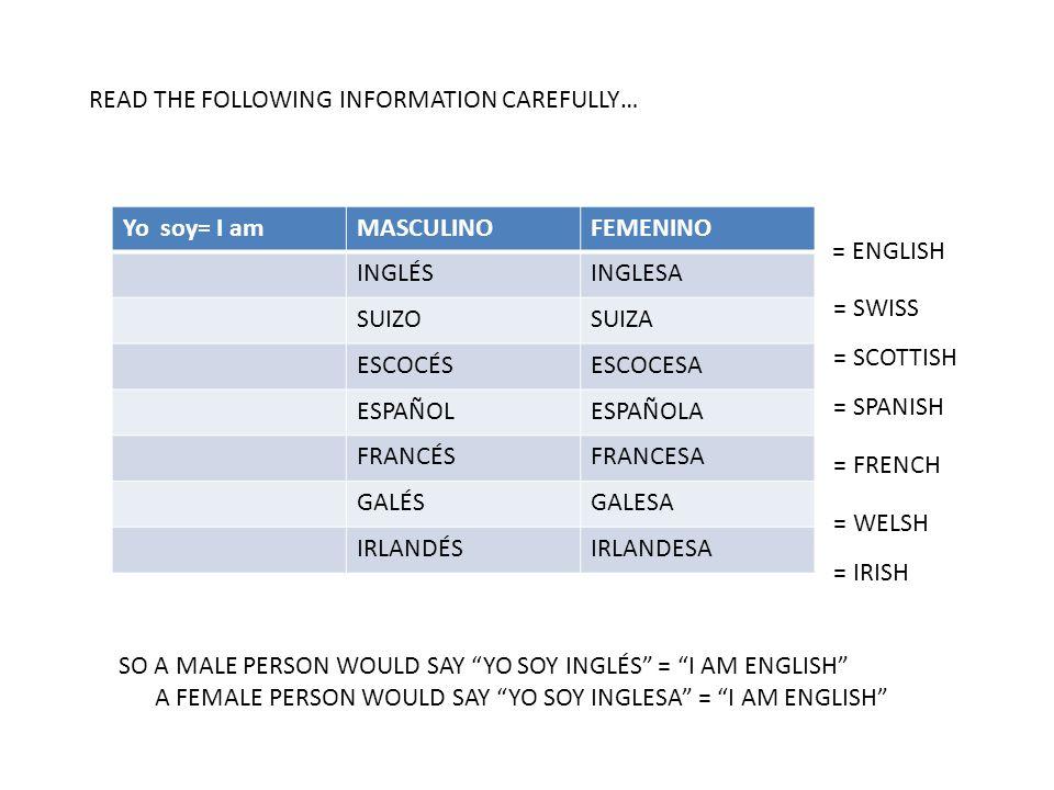 READ THE FOLLOWING INFORMATION CAREFULLY… ) = ENGLISH = SWISS = SCOTTISH = SPANISH = FRENCH = WELSH = IRISH SO A MALE PERSON WOULD SAY YO SOY INGLÉS = I AM ENGLISH A FEMALE PERSON WOULD SAY YO SOY INGLESA = I AM ENGLISH Yo soy= I amMASCULINOFEMENINO INGLÉSINGLESA SUIZOSUIZA ESCOCÉSESCOCESA ESPAÑOLESPAÑOLA FRANCÉSFRANCESA GALÉSGALESA IRLANDÉSIRLANDESA