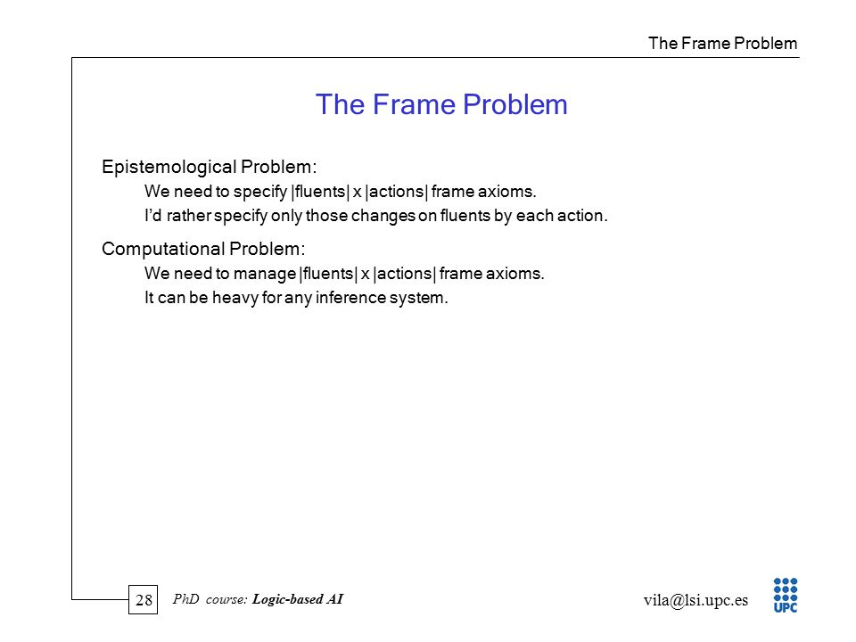 28 vila@lsi.upc.es PhD course: Logic-based AI The Frame Problem Epistemological Problem: We need to specify |fluents| x |actions| frame axioms.