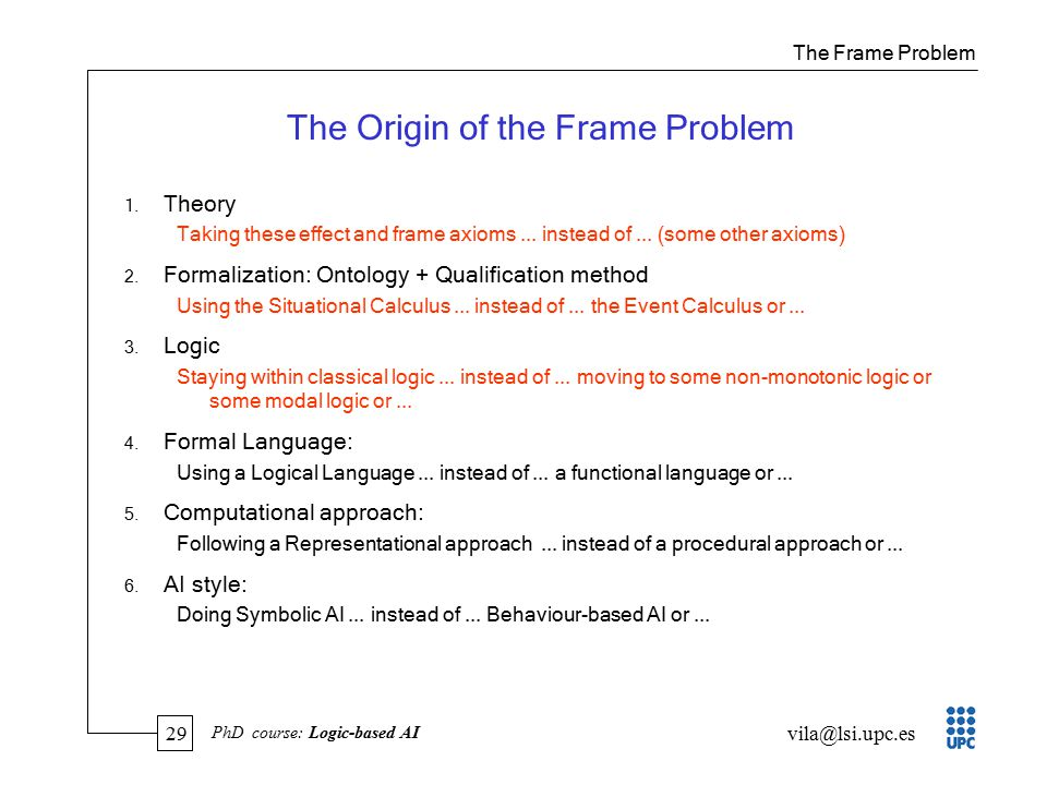 29 vila@lsi.upc.es PhD course: Logic-based AI The Origin of the Frame Problem 1.