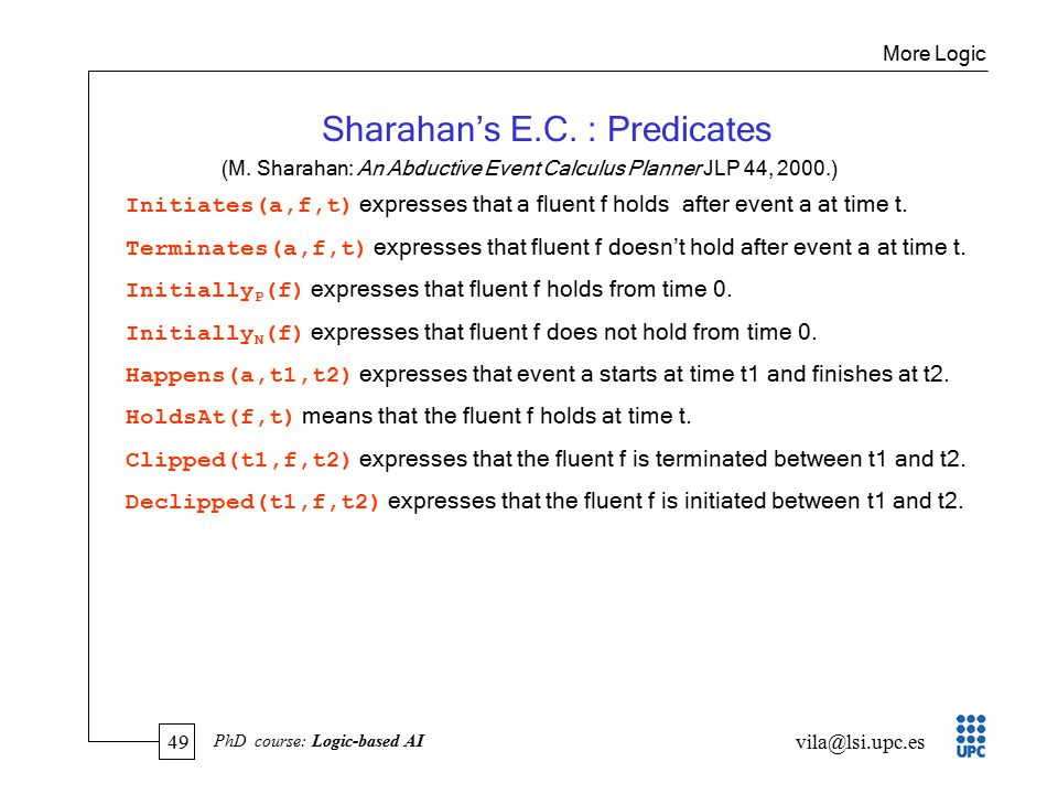 49 vila@lsi.upc.es PhD course: Logic-based AI Sharahan's E.C.