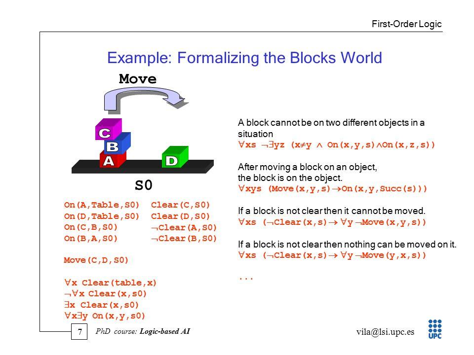 8 vila@lsi.upc.es PhD course: Logic-based AI FOL Semantics Given a first-order language L...