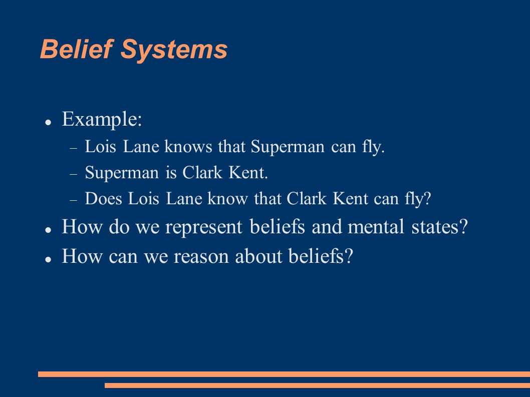 Belief Systems Example:  Lois Lane knows that Superman can fly.