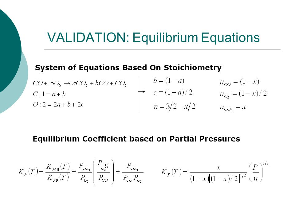 VALIDATION: Equilibrium Equations System of Equations Based On Stoichiometry Equilibrium Coefficient based on Partial Pressures